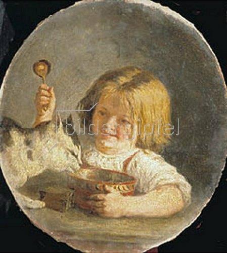 Mikhail Baschilov: Mit der Katze beim Frühstück. 1864.