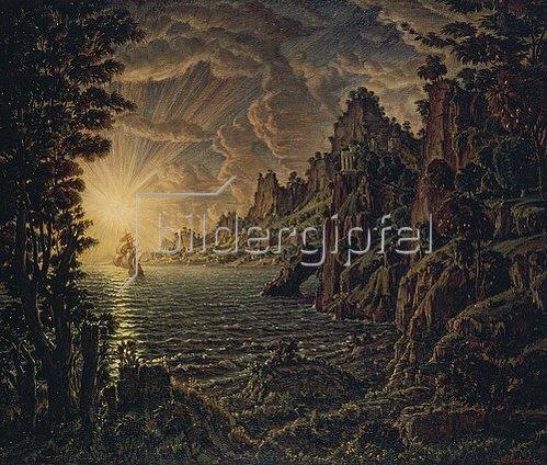 Konstantin Bogajevski: Sonnenstrahlen mit Schiff an einer Felsenküste. 1912.