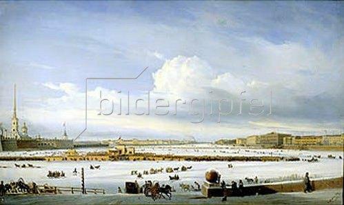 Alexej Petrowitsch Bogoljubov: Schlitten auf der zugefrorenen Newa. St. Petersburg, 1854