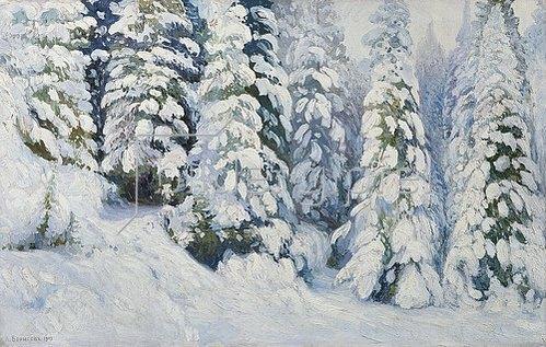 Alexander Borisov: Wintermärchen (verschneite Tannen). 1913