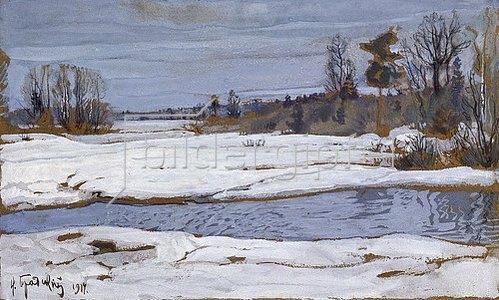 Isaak Brodskij: Schneeschmelze im Frühling. 1914.