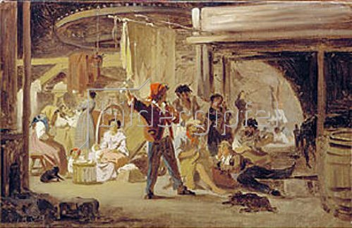Feodor Andrejew Bronnikoff: Hinter dem Zirkuszelt. 1859.
