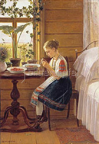 Nikolaj Bykowskij: Mädchen beim Beeren auspellen. 1880.