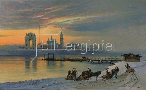Nikolay Fjodorow Dobrovolsky: Winter in Irkutsk an der Angara. 1886