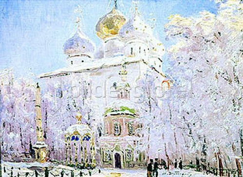 Nikolaj Dubowskoj: Winter in der Trinitäts-Sankt-Sergius Lavra in Sergiev Posad. Um 1910
