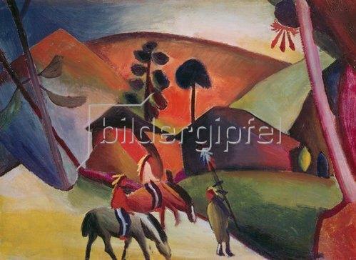 August Macke: Indianer auf Pferden. 1911.
