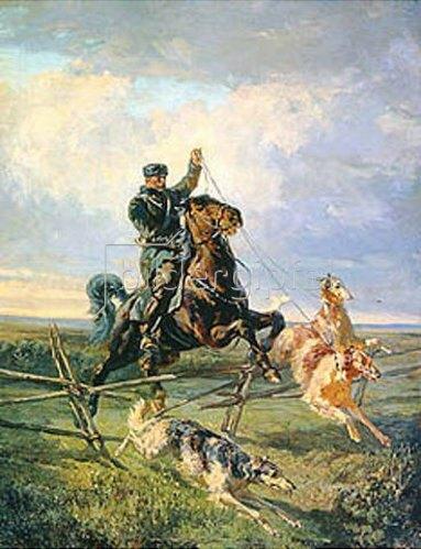Rudolf Ferdinandowitsch Frenz: Berittener Jäger mit drei Barsoi-Hunden. 1872.