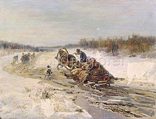 Rudolf Ferdinandowitsch Frenz: Schlittenfahrt zur Faschingsveranstaltung. 1903.