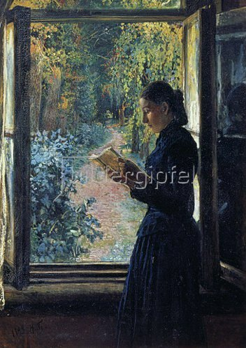 Nikolai Gay: Natalia Petrunkewitsch lesend am Fenster. 1892/93