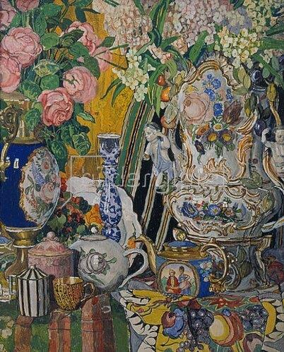 Alexander Jakowlev Golowin: Stillleben mit Porzellan-Gefässen und Blumen. 1915.