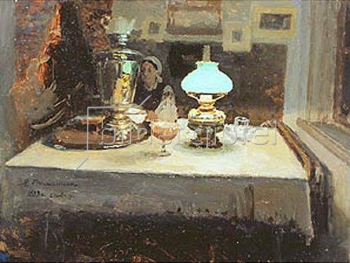 Jakov Kalinichenko: Abends am Samowar. 1899.