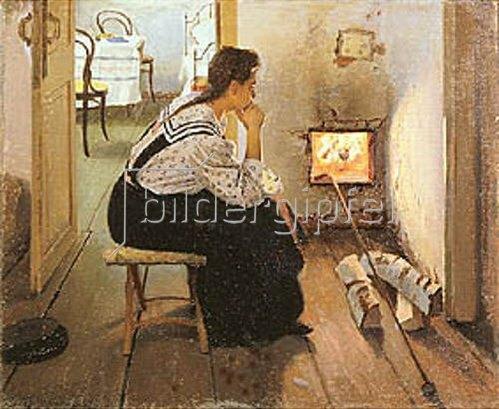 Jakov Kalinichenko: Nachdenkliche Frau am Kamin. 1897.