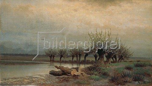 Lev Kamenev: Frühling. Weiden am Bach. 1866