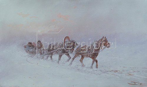 Nikolaj Karasin: Schlitten im Schneesturm. 1901