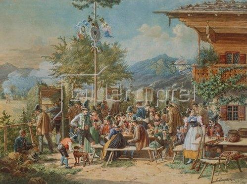 Lorenzo Quaglio d.J.: Das Scheibenschießen in Bayerisch-Zell. 1853.