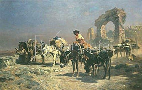 Anton Braith: Römische Eselkarawane.