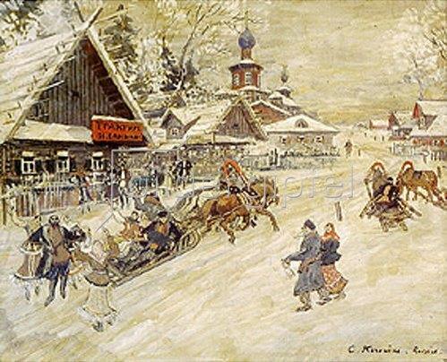 Alexejew. Konstantin Korovin: Festliche Schlittenfahrt im Dorf.