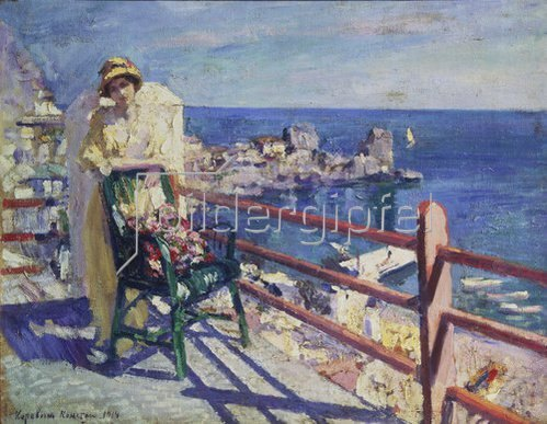 Alexejew. Konstantin Korovin: Frau auf der Terrasse (Gursuph). 1914