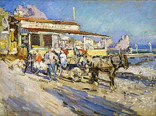 Alexejew. Konstantin Korovin: Pferdekutsche am Strand (Gursuph). 1913
