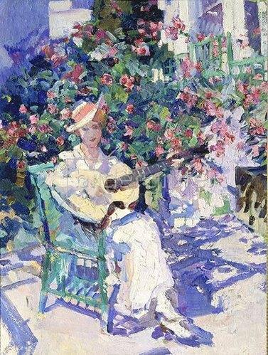 Alexejew. Konstantin Korovin: Dame mit Gitarre im Garten (Crimea). 1916.