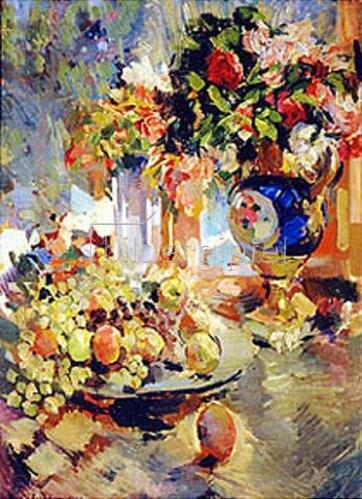 Alexejew. Konstantin Korovin: Stillleben mit Früchten und blauer Vase. 1922