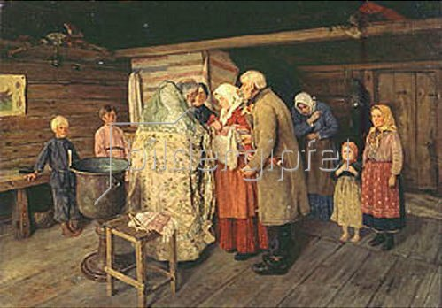 Petr Korovin: Taufe in einer russischer Stube. 1896.
