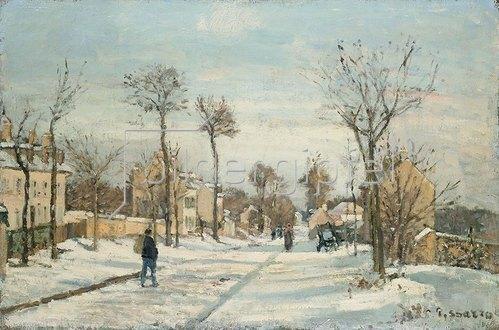 Camille Pissarro: Strasse von Louveciennes im Schnee.