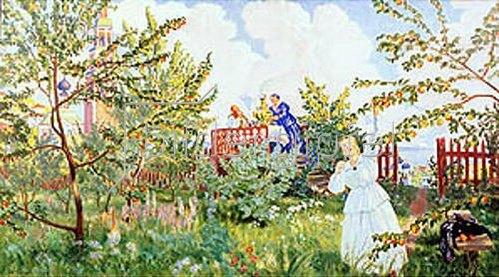 Boris Michailowitsch Kustodiev: Im Apfelgarten. 1918.
