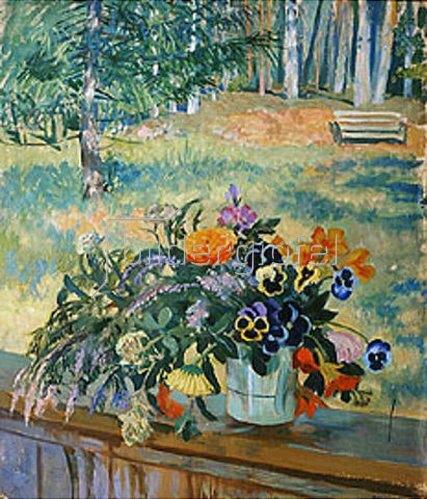 Boris Michailowitsch Kustodiev: Blumenstrauss auf der Balustrade. 1924.