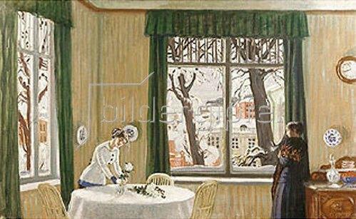 Boris Michailowitsch Kustodiev: Im Wohnraum. Blick aus dem Fenster auf winterliche Landschaft. 1915.