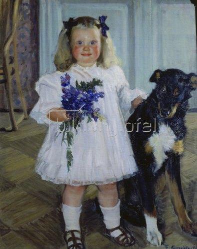 Boris Michailowitsch Kustodiev: Irina Kustodieva mit ihrem Hund Schumka. 1907.