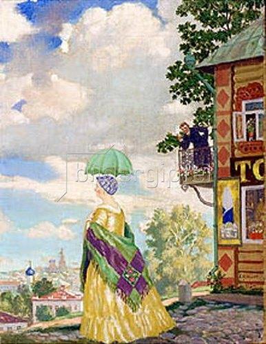Boris Michailowitsch Kustodiev: Dame mit Sonnenschirm beim Spaziergang (In der Provinz). 1920.