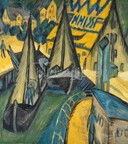 Ernst Ludwig Kirchner: Der Hafen Burgenstaaken auf Fehmarn. 1913.