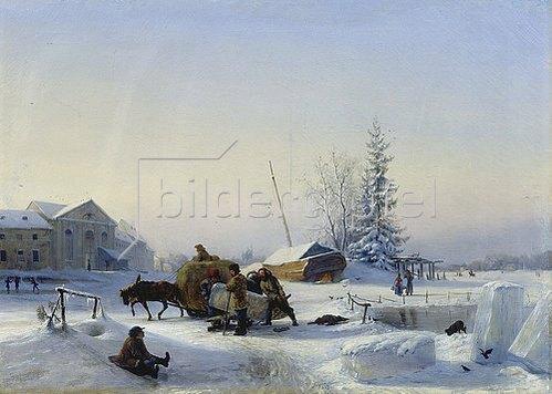 Leo Lagorio: Schlitten auf dem Eis (Winter in einem ehemaligen Weindorf). 1849.