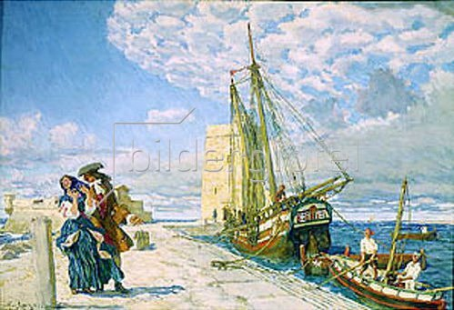 Evgeny Lanceray: Promenade auf dem Pier. 1908.