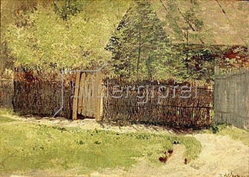 Isaak Iljitsch Lewitan: Hütte und Bäume hinter einem Weidenzaun. 1883.