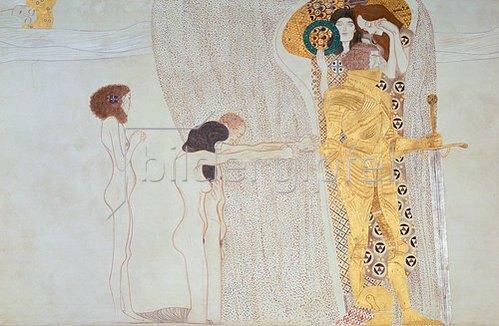 Gustav Klimt: Beethoven-Fries, 1902: Das Verlangen nach dem Glück.