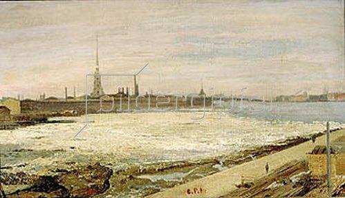 Alexander Litovtschenko: Eisgang auf der Newa in St.Petersburg. 1881.