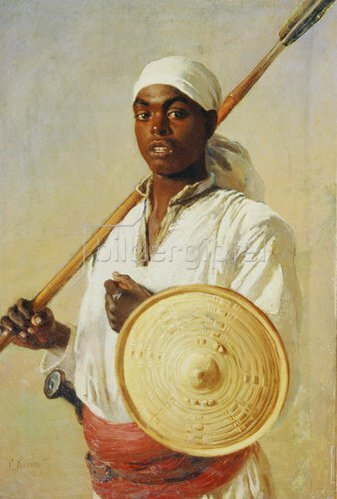 Konstantin Jegor Makovskij: Ägyptischer Krieger mit Speer und Schild. 1874.