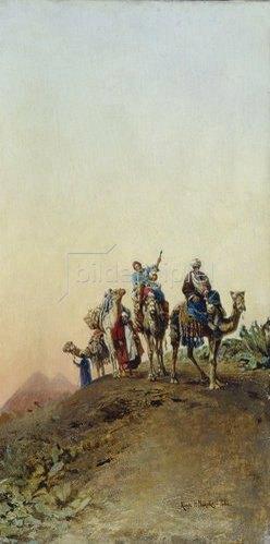 Nikolaj Jegorowitsch Makovskij: Kamelkarawane vor den Pyramiden. 1881.