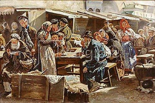 Wladimir J Makovskij: Mittagessen auf dem Jahrmarkt. 1875.