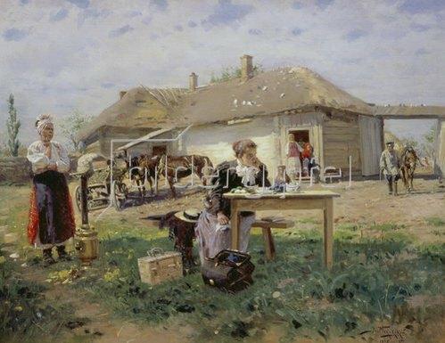Wladimir J Makovskij: Die Ankunft der Lehrerin auf dem Lande. 1897.
