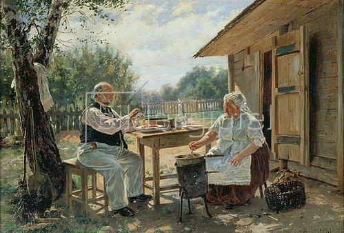 Wladimir J Makovskij: Beim Einkochen der Marmelade. 1876.