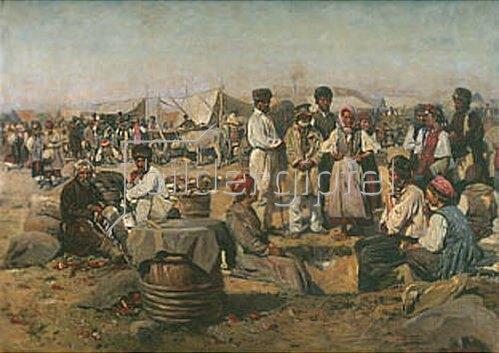 Wladimir J Makovskij: Markt in Poltawa. 1885/1910.