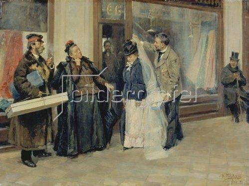 Wladimir J Makovskij: Bei der Wahl der Aussteuer. 1897/1898.