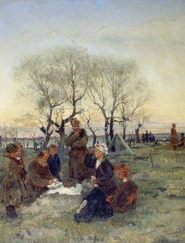 Wladimir J Makovskij: Beim Totenmahl am Grabe. 1884.