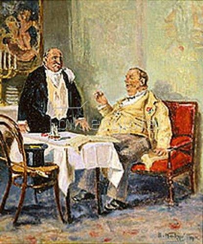 Wladimir J Makovskij: Gast und Kellner. 1914.