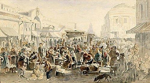 Wladimir J Makovskij: Gebrauchtwaren-Markt in Moskau. 1875.