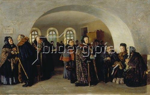 Konstantin Jegor Makovskij: Die Auszahlung der Rente. 1876.