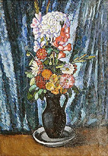 Ilja Iwanowitsch Maschkoff: Blumenstrauss in schwarzem Krug vor blauem Hintergrund. 1916.